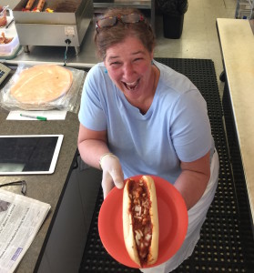 Jill & Michigan hot dog cropped